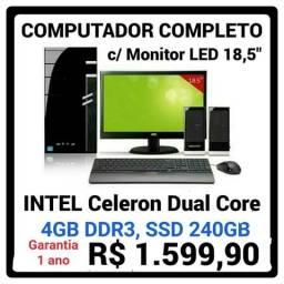 """COMPUTADOR Novo com Monitor LED vga e HDMI 18,5"""", Celeron Dual Core, SSD 240GB"""