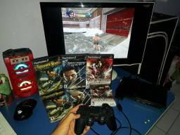 Playstation 2 Slim Completo + 1 controle + 3 jogos originais + Cabos + Memory Card