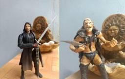 Bonecos Antigos Senhor Dos Anéis Toybiz - Aragorn, Orc Sharku, Éowyn e Éomer