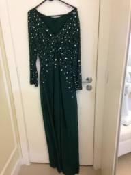 Vestido de festa longo verde usado uma única vez