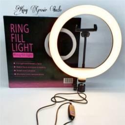 Iluminador Ring Light 10'' - 26 cm de diâmetro + Tripé + Suporte Celular