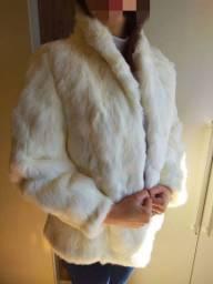 Casaco de pele natural branco