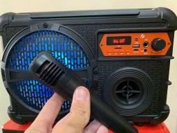 Caixa de som com Bluetooth, Microfone e Karaokê!