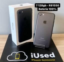 iPhone 7 128gb Bateria 100% na Caixa - Aceito Cartão