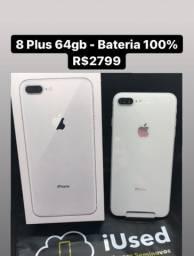 iPhone 8 Plus Silver Caixa Nota Bateria 100% - Aceito Cartão