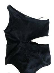 Body preto um ombro só com brilho