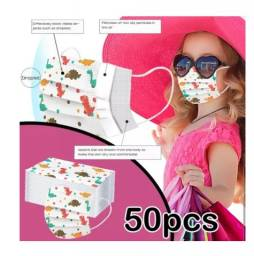 Disponível  50 Máscaras Infantil Desenho Dinossauros Com Triplo Filtro