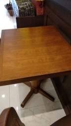 Conjunto Mesa + 2 Cadeira - Madeira e Couro