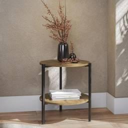 Título do anúncio: Mesa de centro lateral redonda estilo industrial freijo kapesberg