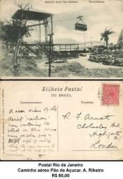 Postal Rio de Janeiro - Caminho aéreo Pão de Açucar. A. Ribeiro.