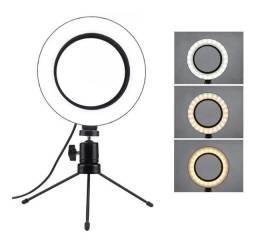 Ring Light Led Mesa Iluminador Pequena Tripé 6 Polegada 16cm