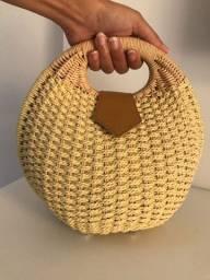 Bolsa de palha redonda de mão