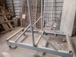 Carrinho ferro c/ rodas p/ transporte de vigas metálicas e material pesado