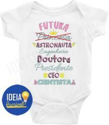 Body Bebê / Infantil Futura Astronauta, Engenheira, Presidente, Doutora, Ceo, Cientista