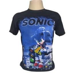 Camiseta Sonic arte frente e verso de 59,90 por 39,90