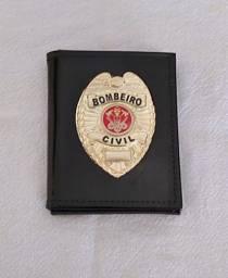 Porta documentos em couro para Bombeiro Civil (águia)