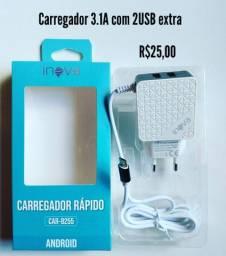 Carregador original INOVA 2.1A e 3.1A com USB extra