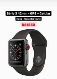 Apple Watch S3 42mm GPS + Celular Novo Garantia 1 Ano - Aceito Cartão