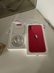 iPhone 11 vermelho 64gb novo com nota