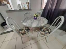 Mesa pedra marmore e 4 cadeiras