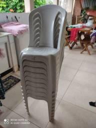 Cadeira Plastico Branca Empilhável - Lote 09 Cadeiras