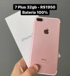 iPhone 7 Plus 32gb Rosé Bateria 100% - Aceito Cartão