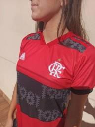 Camisa de Time Flamengo Jogo 2021 Rubro-Negra