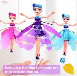 Fada voadora, voa de verdade, com luzes com sistema de indução linda, 2 cores roxa e azul.