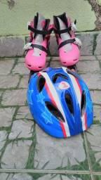 Patins com capacete