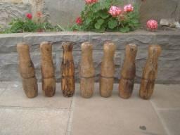 Pinos de boliche em madeira antigos-modelos variados