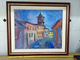 Quadro pintura de cidade 58 cm