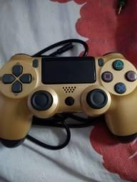 Controle ps4 paralelo, dourado (fio)