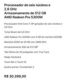 MacBook Pro 16 polegadas lacrado 1 ano de garantia Apple!!!