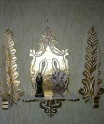 Conjunto Oratório pota bíblia e castiçais folheado a ouro 3 x SEM JUROS