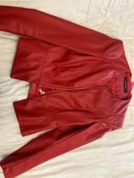 Jaqueta courino Zara vermelha