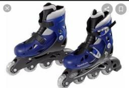 Patins in line 4 rodas azul escuro ajustável