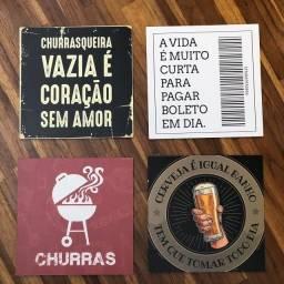 Kit 4 Quadros Decorativos Churrasqueira Bebidas Bar Cerveja