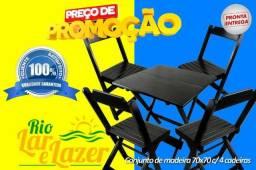 Jogo Madeira Maciça 70x70 Desmontável