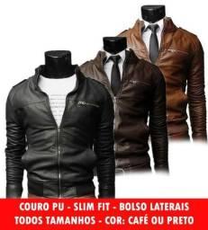 Jaqueta De Couro Masculina Slim Fit Pronta Entrega No Brasil 26ce86b534