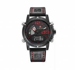 869e6d3b93f Relógio Masculino Naviforce 9095 Quartz Original (Preto Vermelho) Inox