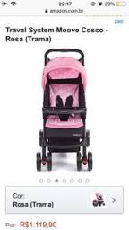 Vendo carrinho de bebê semi novo na cor rosa