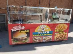 Carrinho de batata pastel hotdog lanches balcão