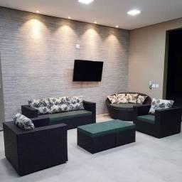 Conjunto de sofa quadrado 3 lugares em fibra sintética
