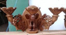 Arandela em madeira Maciça Esculpida