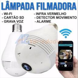 Camera Ip 360° HD Panorâmica Lampada Led Wifi Celul 3g Espiã