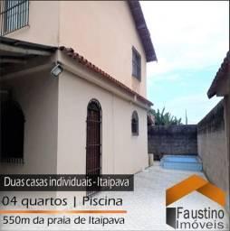 Vendo duas Casas Individuais com quintal e piscina! 550m da Praia de Itaipava