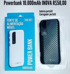 Bateria portátil 10.000mAh em promoção, carregador portátil, Powerbank INOVA original