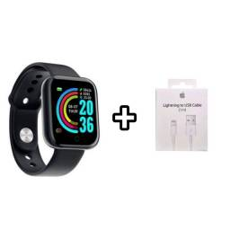 Smartwatch D20 Y68 Preto + Brinde