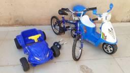 Vende-se scooter elétrica infantil, bicicleta aro 16 e carro infantil a pedal.