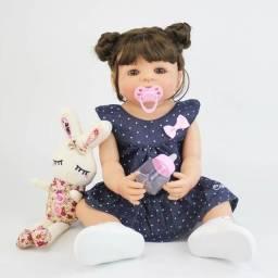 Bebe Reborn Boneca Laura Silicone Menina Cabelo Coelhinha